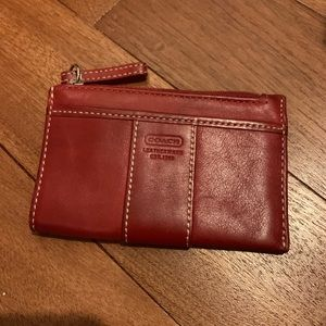 Red Coach Leather Coin Purse